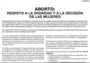 Aborto: RESPETO a La dignidad y a La decisión de las MUJERES