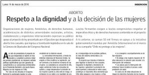La Segunda publica inserto con miles de firmas en apoyo al proyecto de Aborto en Chile