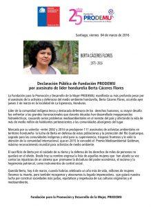 Declaración Pública Fundación PRODEMU