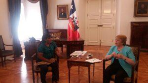 Presidenta Michelle Bachelet recibe a Gabriela Blas, previo al Acto de Reconocimiento de Responsabilidad del Estado