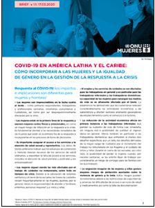 COVID-19 en ALyC: cómo incorporar a las mujeres y la igualdad de género en la gestión de la respuesta a la crisis