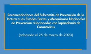 Subcomité de Prevención de la Tortura a los Estados Partes y mecanismos nacionales de prevención relacionados con la pandemia de coronavirus