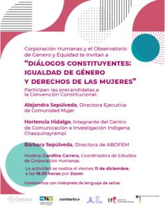 """INVITACIÓN: """"Diálogos Constituyentes: Igualdad de Género y Derechos de las Mujeres"""""""