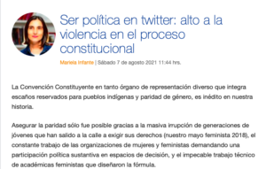 Ser política en twitter: alto a la violencia en el proceso constitucional